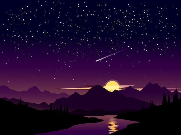 Night landscape with starry sky and shooting stars