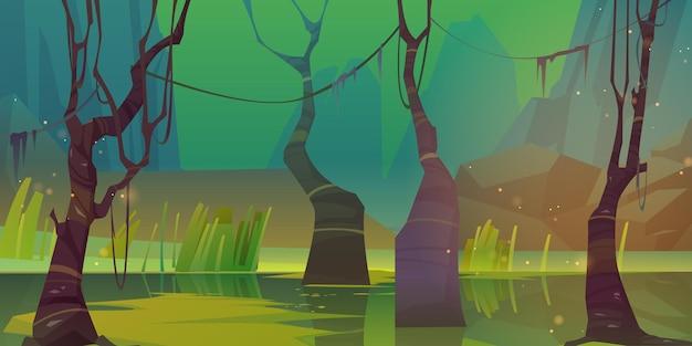 沼と山々のある夜の風景