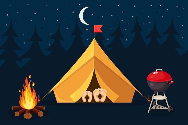 텐트, 캠프 파이어, 숲과 밤 풍경. 여름 캠프, 자연 관광. 캠핑 또는 하이킹 개념