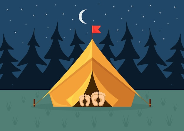 Night landscape with tent, forest Premium Vector