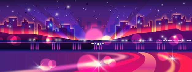 Баннер ночной жизни с межгосударственным, огнями, монорельсом, городским пейзажем, звездами.