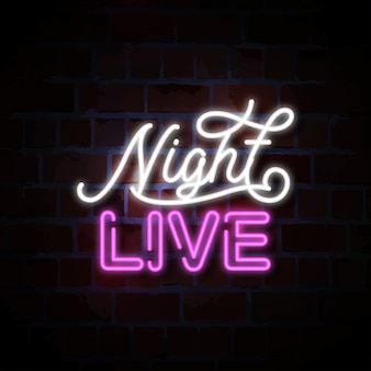 Night live neon sign illustration