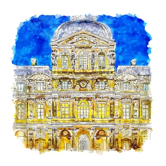 夜のルーブル美術館パリフランス水彩スケッチ手描きイラスト