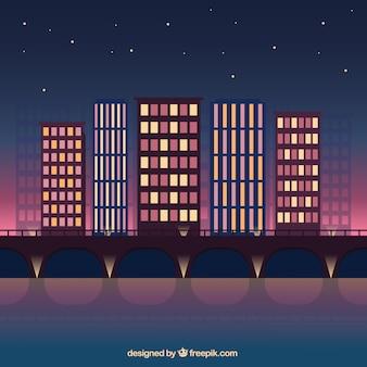 밤 현대 도시 배경