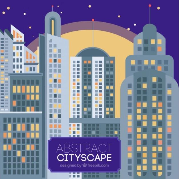 Notte moderna città con grattacieli sfondo
