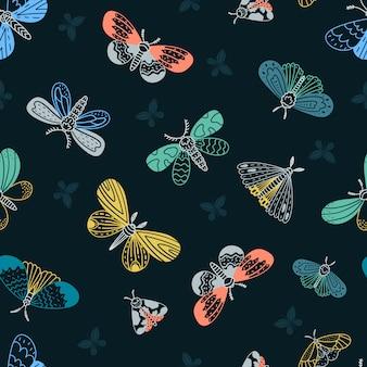 夜の蛾。シームレスなパターン。
