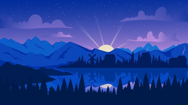 Night mountain landscape with pine forest lake or river illustration cartoon evening scenery