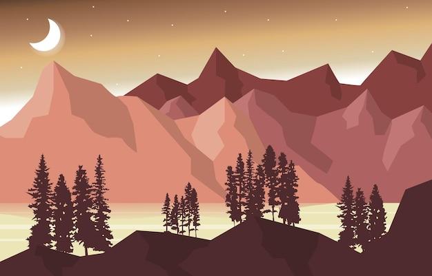 夜の山のピーク松の木自然風景アドベンチャーイラスト