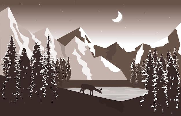 Ночь гора пик сосны природа пейзаж приключения иллюстрация