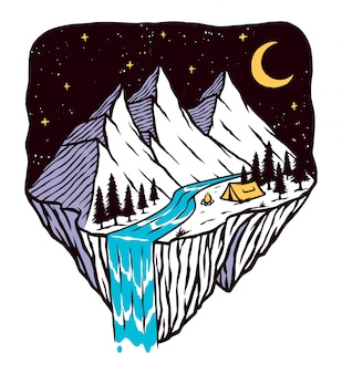 Night mountain scenery illustration