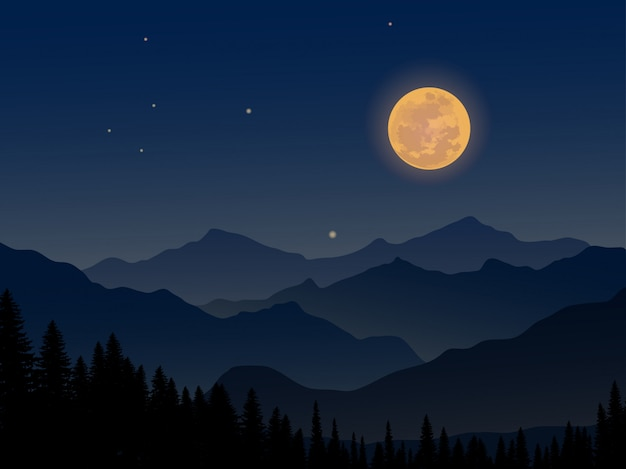 Night at mountain with full moon and pine forest