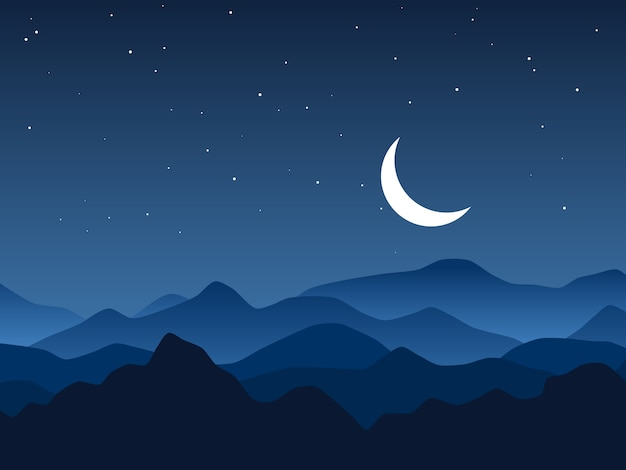 Night mountains and starry sky illustration