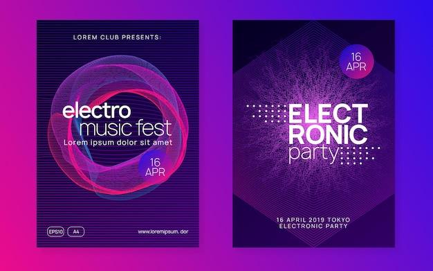 Ночная музыка. динамическая плавная форма и линия. набор брошюр геометрической дискотеки. флаер ночной музыки. электро танцевальный диджей. фестиваль электронного звука. техно-транс-вечеринка. афиша клубного мероприятия.
