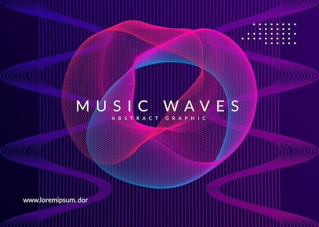 Ночная музыка. геометрический шаблон обложки концерт. динамическая плавная форма и линия. флаер ночной музыки. электро танцевальный диджей. фестиваль электронного звука. техно-транс-вечеринка. афиша клубного мероприятия.