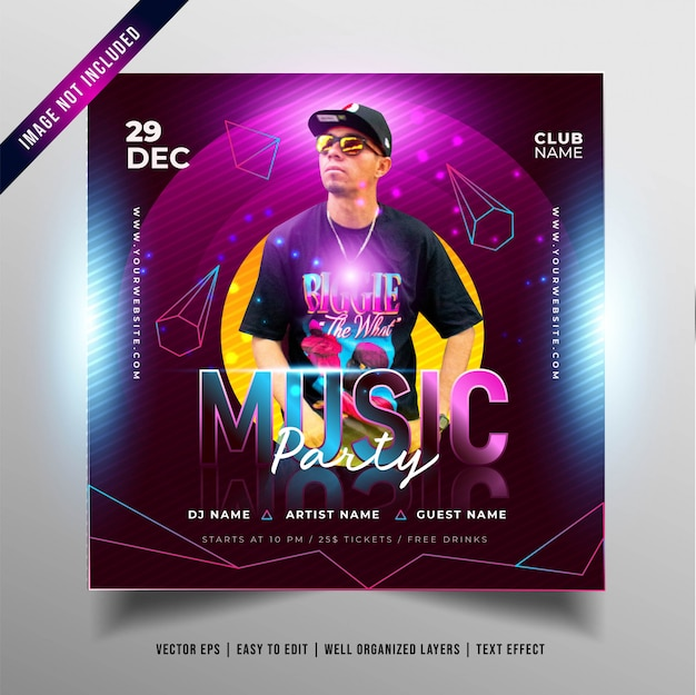 Night music party banner for social media promotion