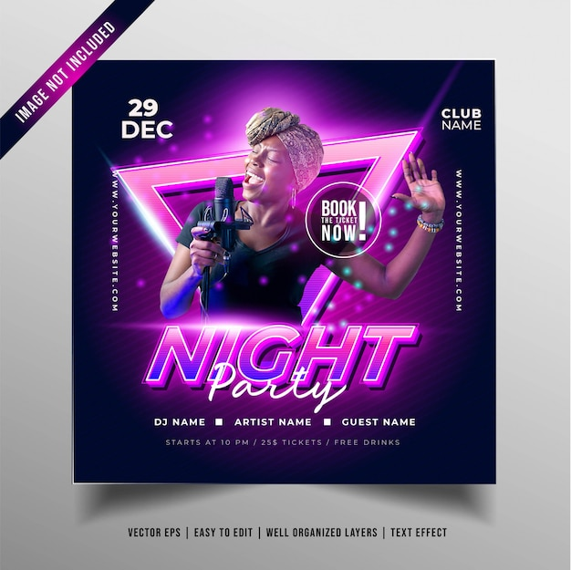 Night music party banner