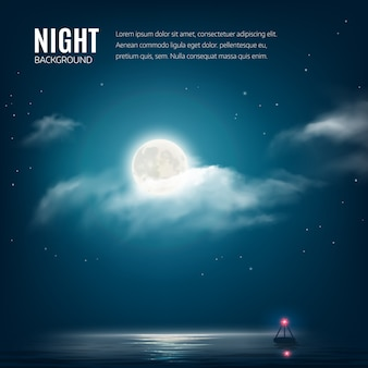 Night nature background cloudy sky with stars, moon and calm sea with beacon.