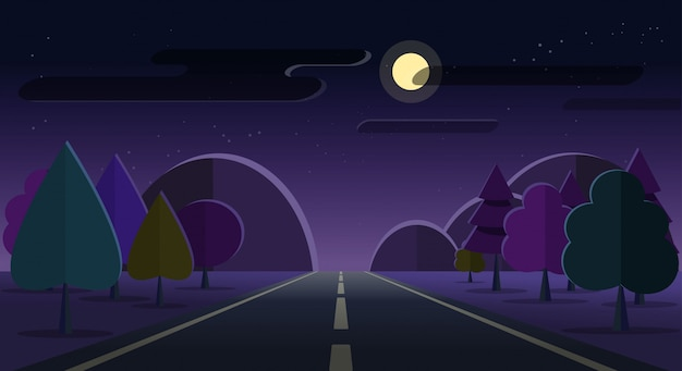 Night nature landscape road and mountains on moon cloud stars sky flat cartoon