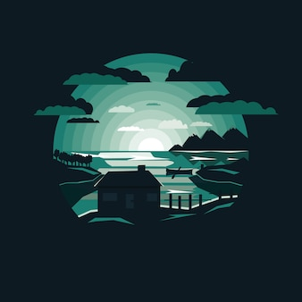 Night nature landscape with house by the lake