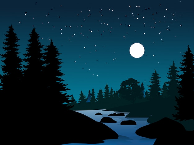Night nature landscape with river and starry night