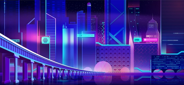 Night neon city and bridge above bay water surface