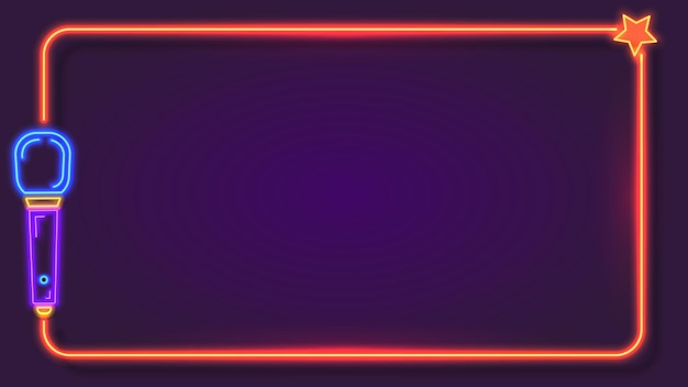 Night neon karaoke frame for song lyrics with microphone. music bar club singer party show stand. karaoke sign text border vector template. live music in festival, restaurant or cafe