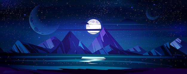 夜の海の風景満月と星が輝く