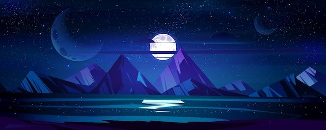 Night ocean landscape full moon and stars shine