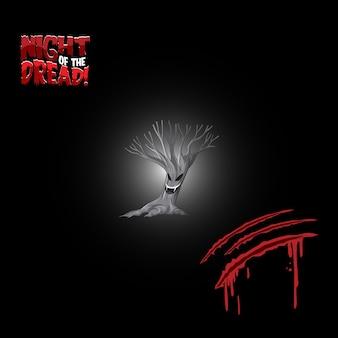 소름 끼치는 나무와 피 묻은 스크래치가 있는 무서운 단어 로고의 밤