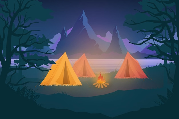 Night outdoor nature adventure camping illustration. cartoon flat tourist camp with picnic spot and tent among forest, mountain landscape