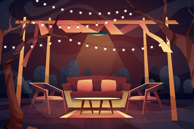 Night outdoor scene of sofa with cushions, chair and coffee table on carpet under lighting from ceiling at home