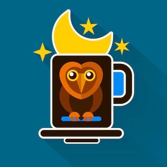 Night owl and moon оригинальный дизайн