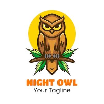 Night owl logo design vector