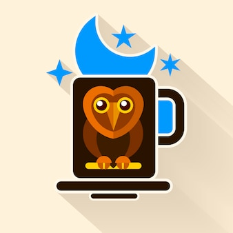 Night owl and moon original design