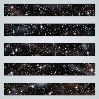 Night panoramic backgrounds with stars, nebula and galaxies set