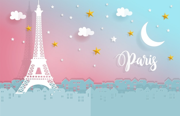 Night in paris with city and eiffel tower in paper cut style