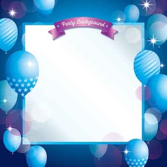 Night party decorated with balloons and ribbon for template