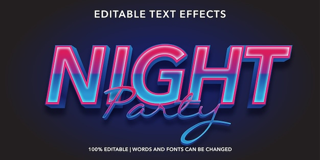 Night party editable text effect