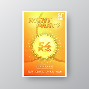 Night party flyer with golden shapes