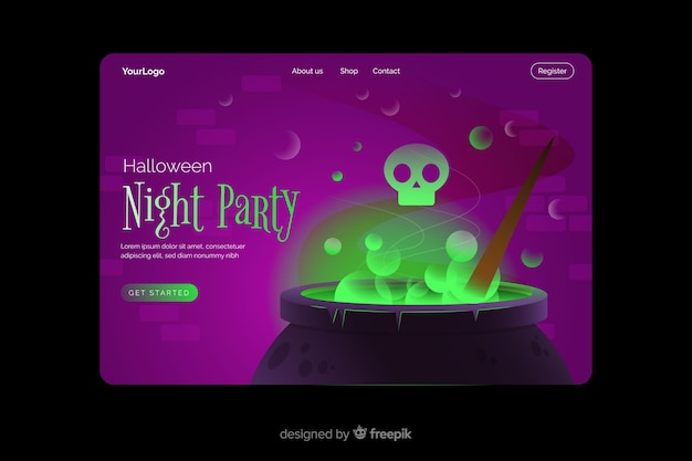 Night party halloween landing page