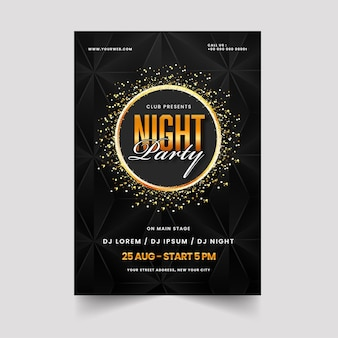 Night party invitation template design in golden and black color.