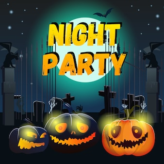 Night party lettering with smiling pumpkins and cemetery