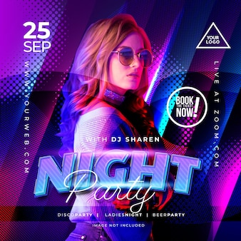 Night party music banner for social media template
