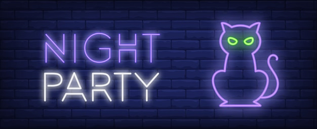 Night party neon style banner. cat on brick background. halloween, party, night event