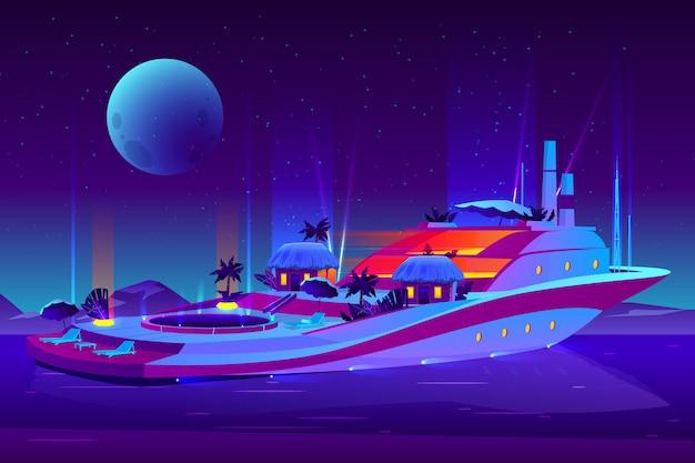 미래의 떠있는 호텔, 유람선, 요트 만화 개념에 밤 파티.