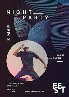 Night party poster design set