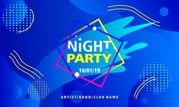 Night party poster design template on blue background