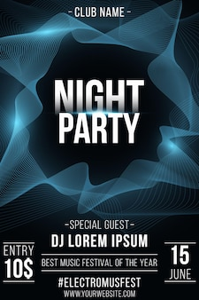 Night party poster. stylish futuristic flyer with wavy shapes for graphic design