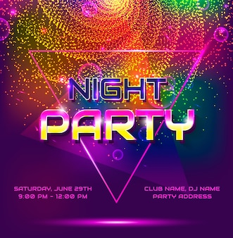 Night party poster template.