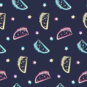 光沢のあるタコスと星との夜のパーティーのシームレスなパターン。コミックフラットメキシコアウトラインタコステクスチャ